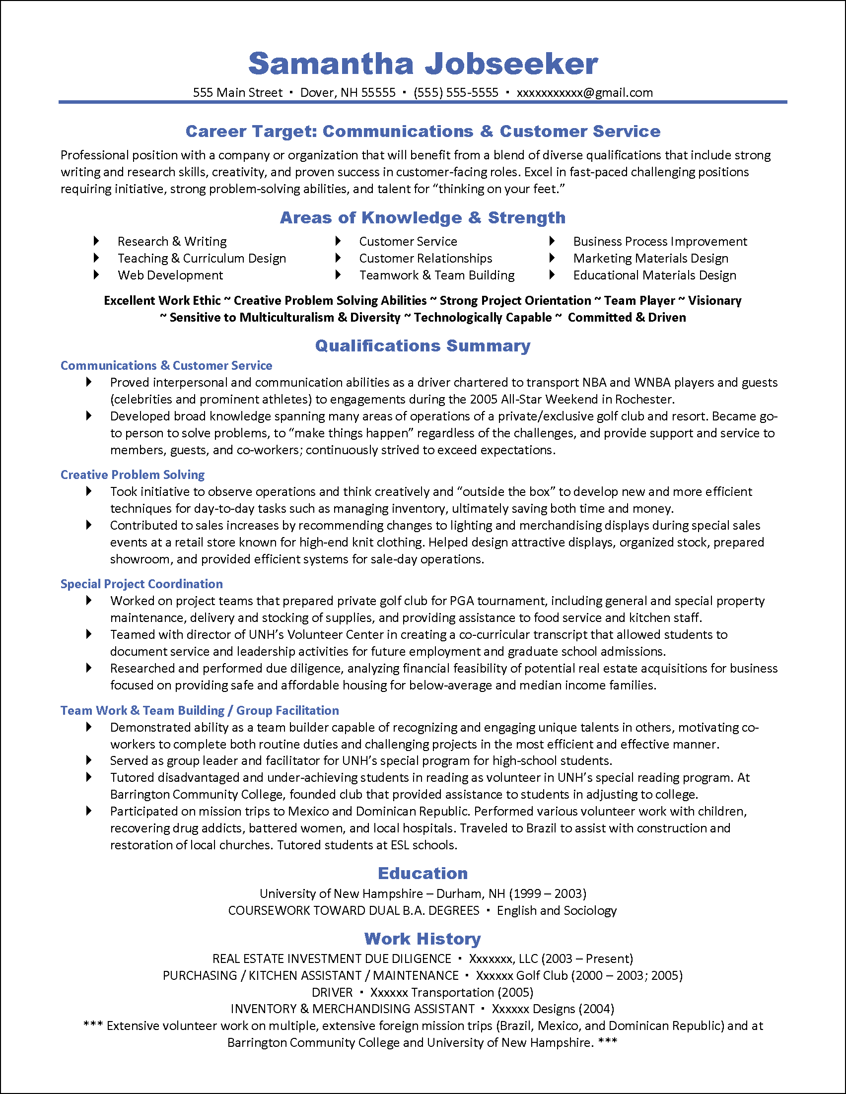 Example Targeted Resume for Communications