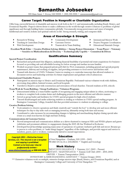Example Targeted Resume for Nonprofit