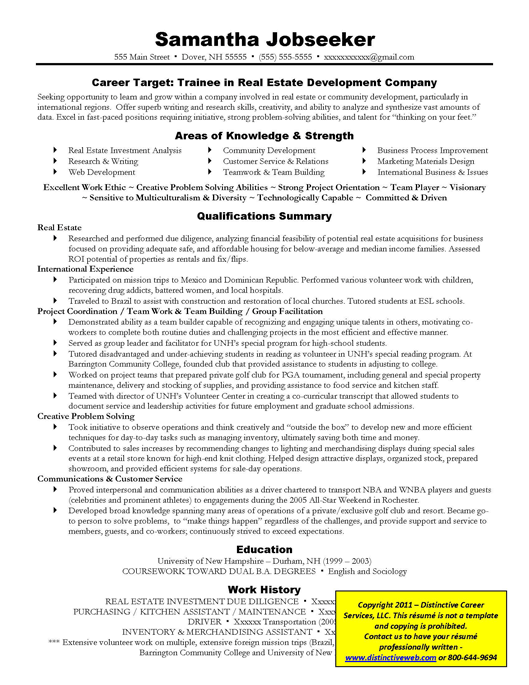 Example Targeted Resume for Real Estate