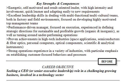 Executive resume example before rewriting