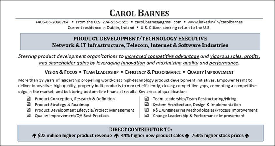 Example of a resume summary profile