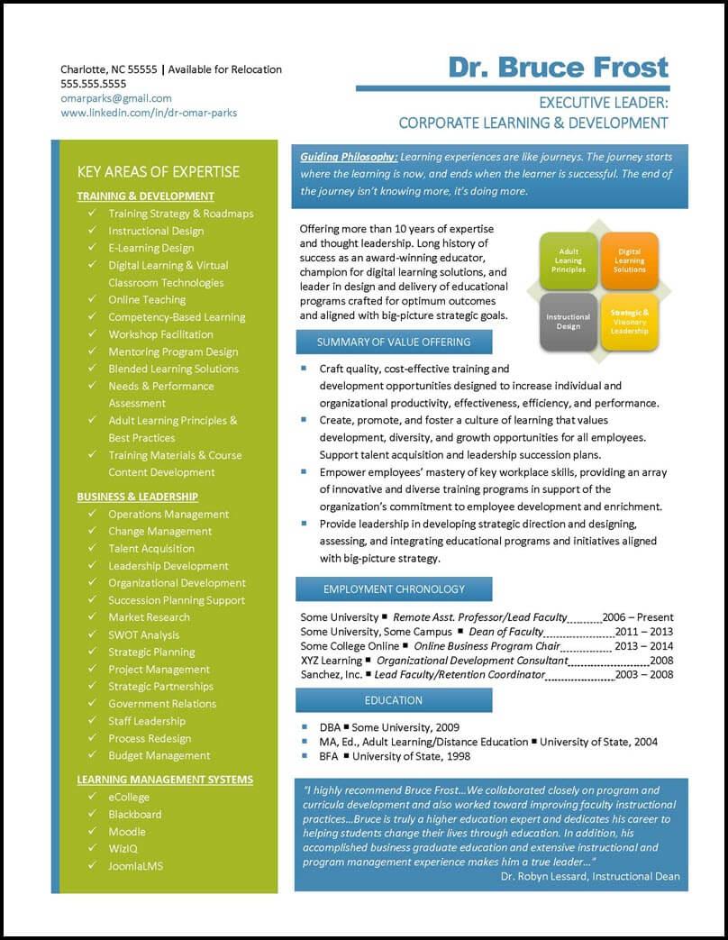 Graphic Resume Value Profile 8