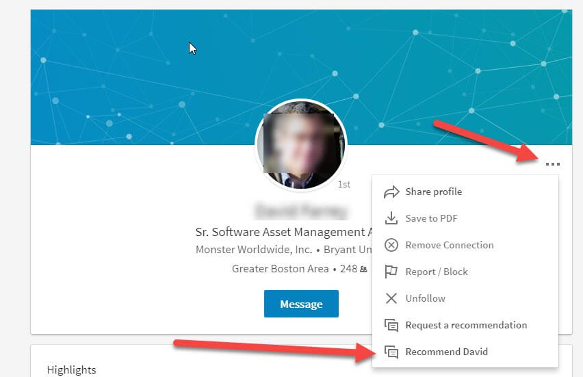 recommend connection on linkedin