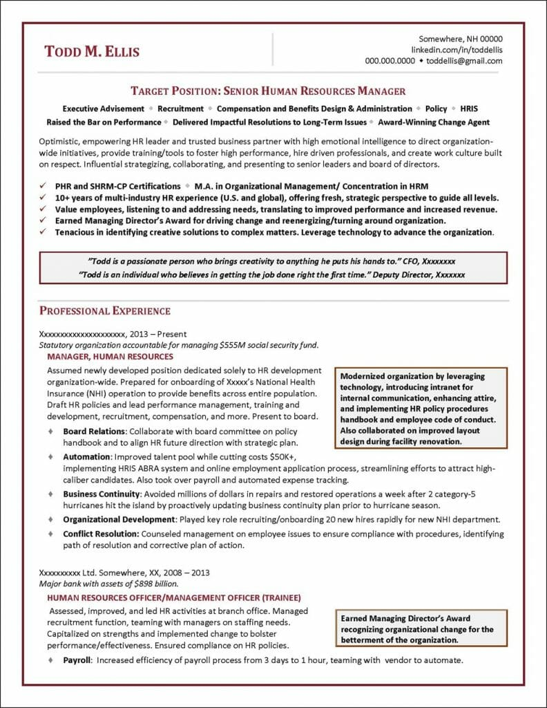 Human Resources Manager Resume Distinctive Career Services