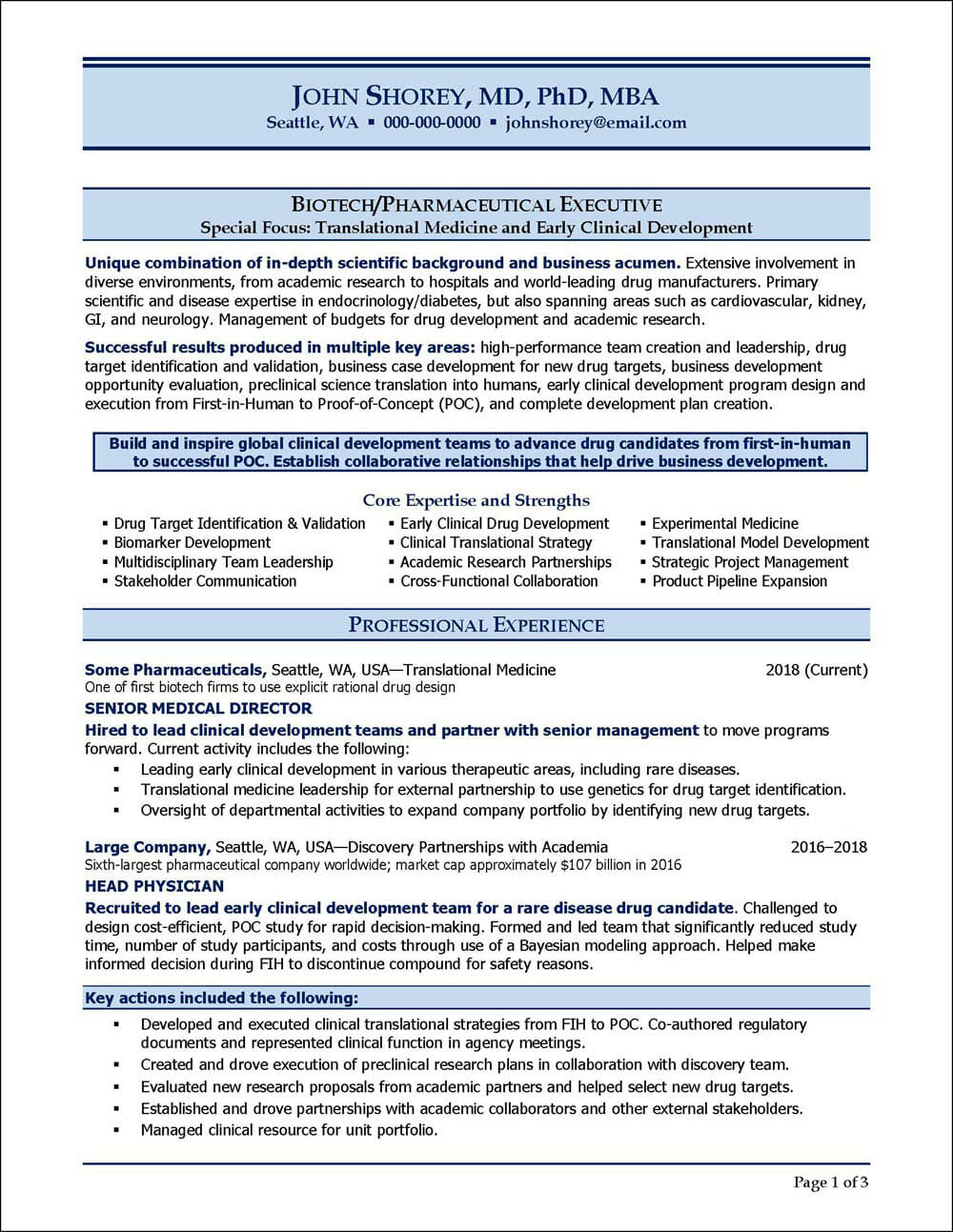 Biotech and Pharmaceutical Executive Resume Page 1